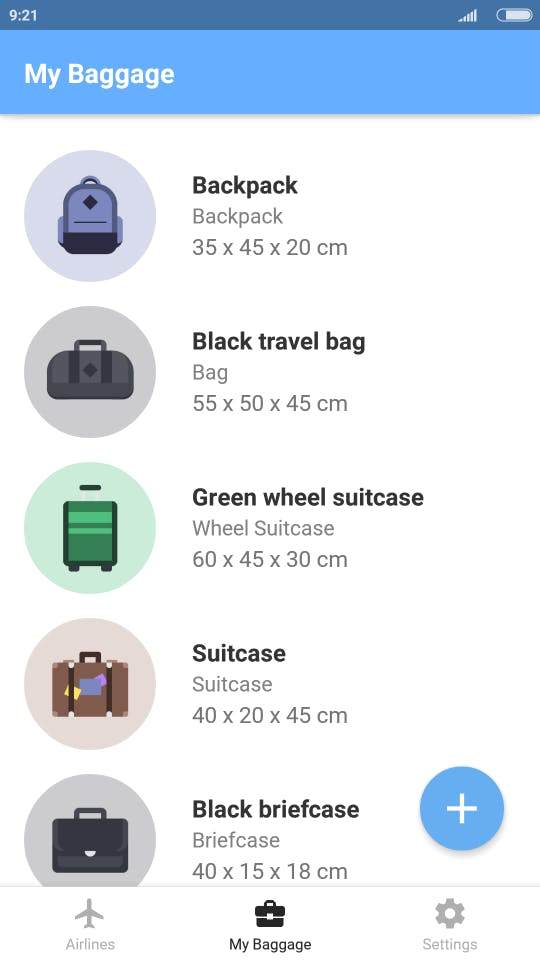 Baggify je mobilna aplikacija koja sadrži informacije o dozvoljenim dimenzijama i težini prtljaga