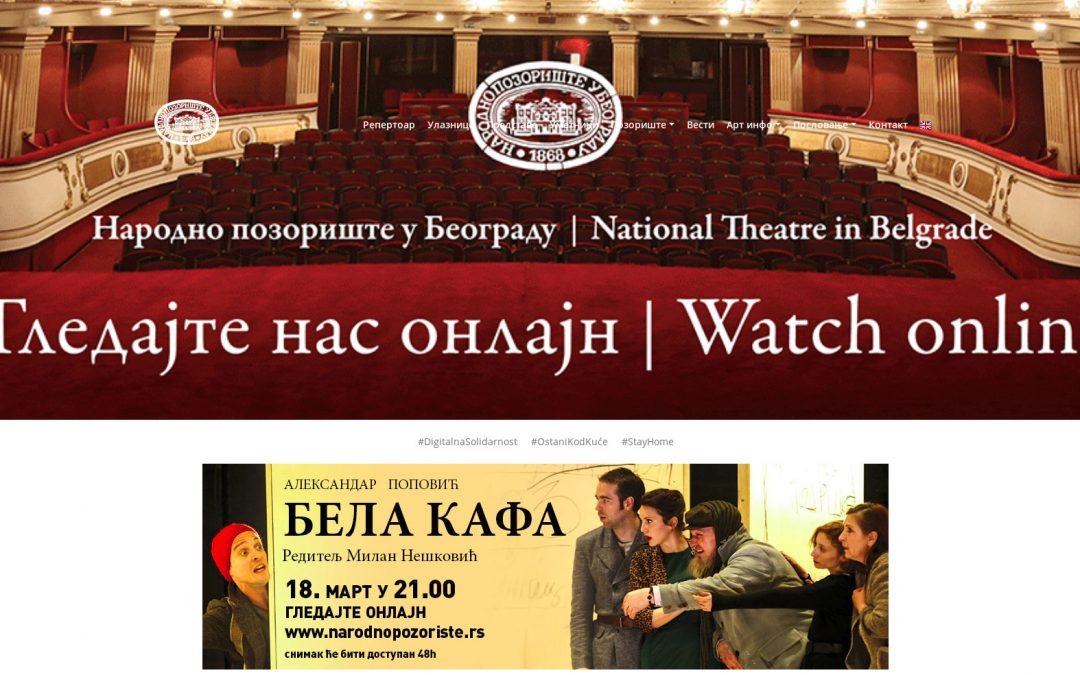 Narodno pozorište iz Beograda počinje sa prikazivanjem predstava online